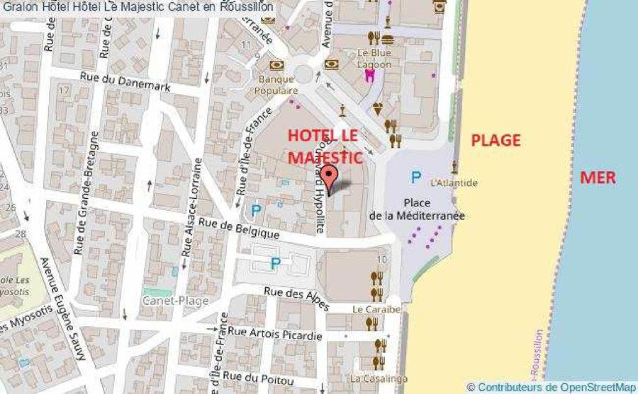 Situtation de l'Hôtel Majestic à Canet-Plage